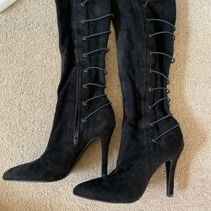 BCBG suede black boots 7 1/2